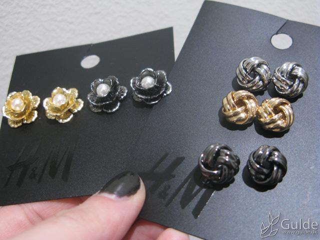 H&M basisøreringe, knuder og blomster i sølv, guld og blodstensfarve