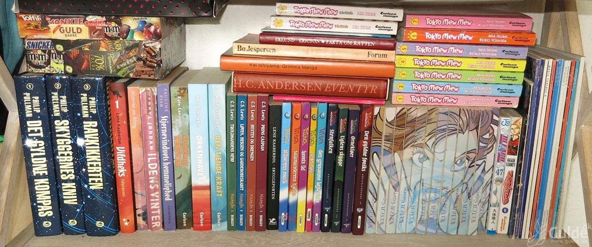 Mine bøger, hylde 3 i stuen