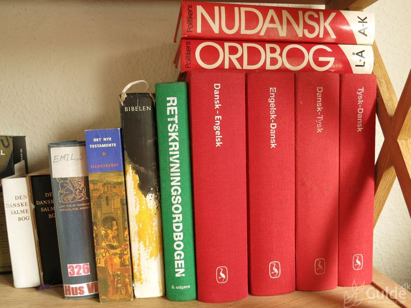 Mine bøger, første hylde på kontoret, mest ordbøger og sådan...