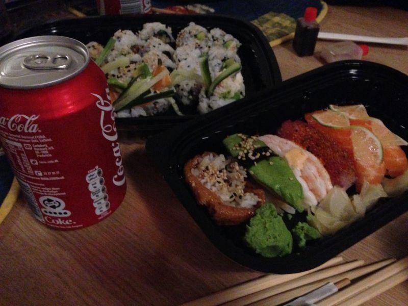 Vi fik sushi igår, dog ikke helt problemfrit
