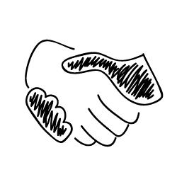 Sponsorering og anbefalinger, handrawn handshake / deal icon