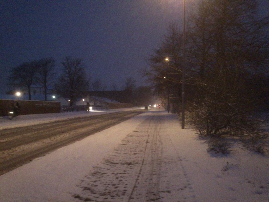 Snevejr i morges