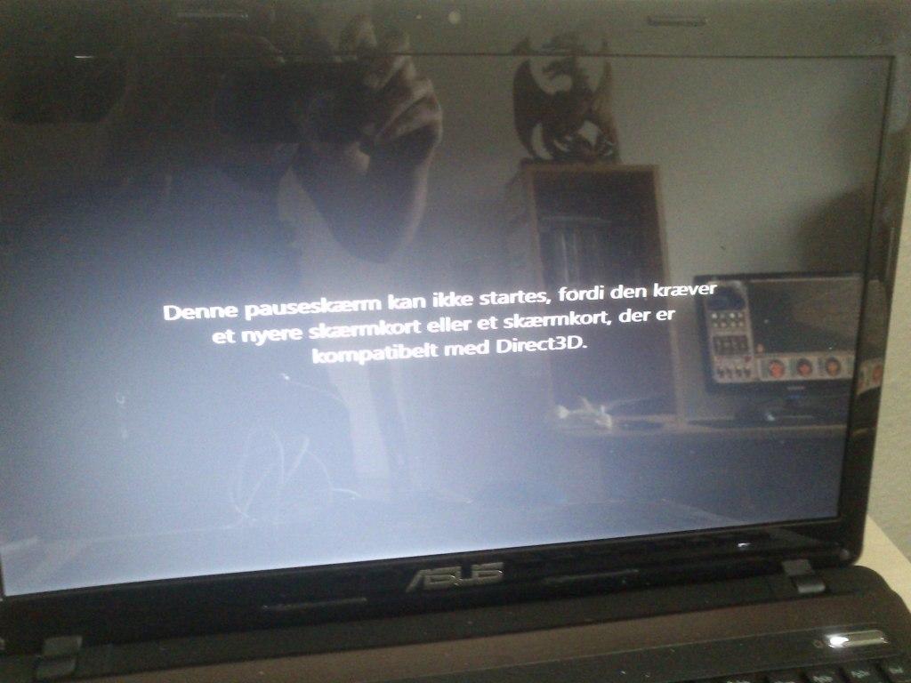 Denne pauseskærm kan ikke startes, fordi den kræver et nyere skærmkort eller et skærmkort, der er kompatibelt med Direct3D.